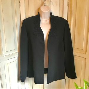 Black dress jacket with beaded accent